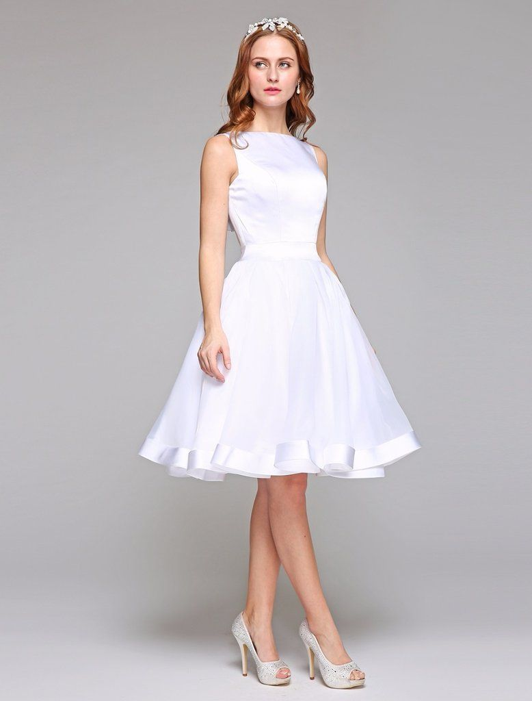 Organza satinlined sleeveless short wedding dress with pleated