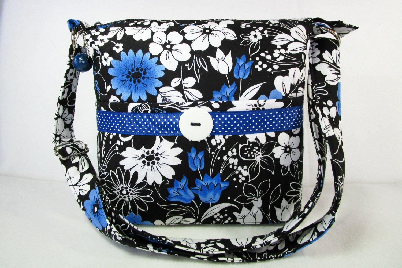 Spring Flowers Handmade Fabric Purse / Cross Body Handbag / Case for Glasses by darlingsdesigns on Etsy