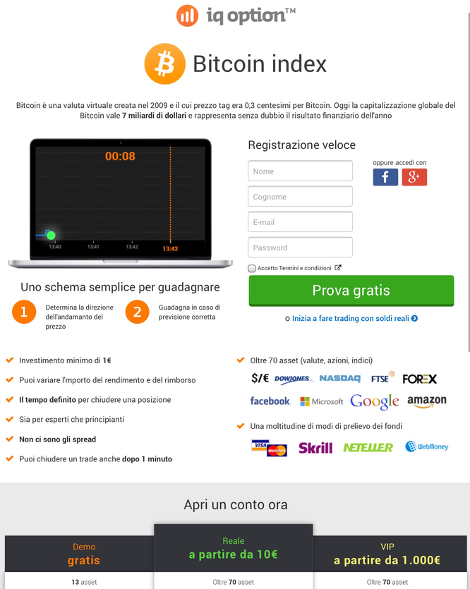 demo bitcoin conto