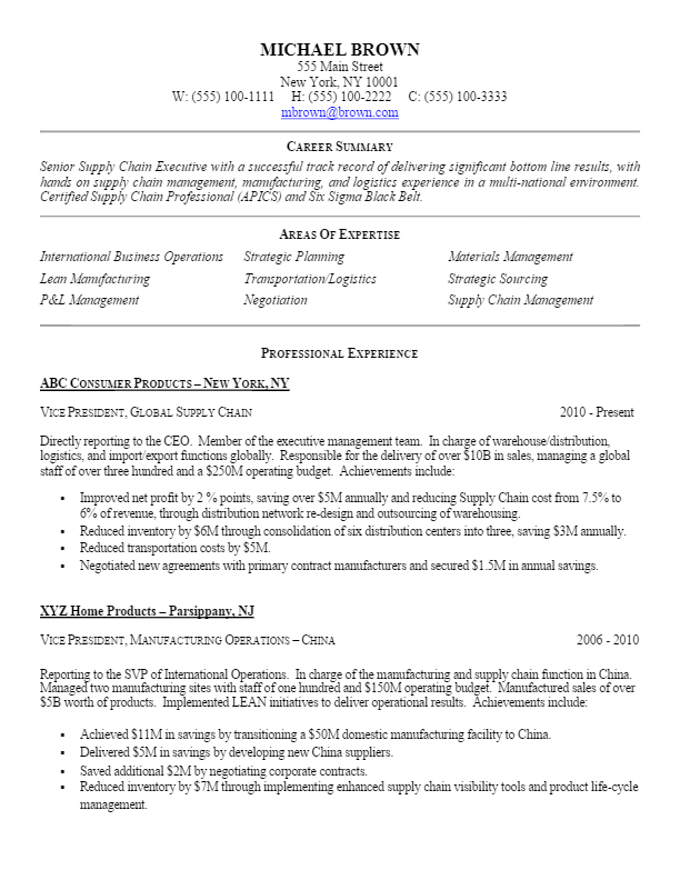 Sample Vp Level Supply Chain Resume For More Resume Writing Tips