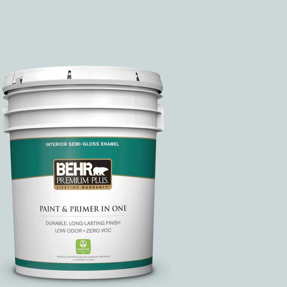 BEHR Premium Plus 5 gal. #PPU13-16 Offshore Mist Zero VOC Semi-Gloss Enamel Interior Paint
