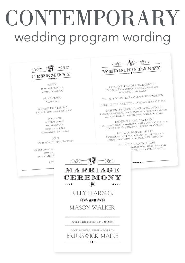 How To Word Your Wedding Programs Contemporary Wording Wedding Programs Ceremony Program Template Wedding Ceremony Programs Template