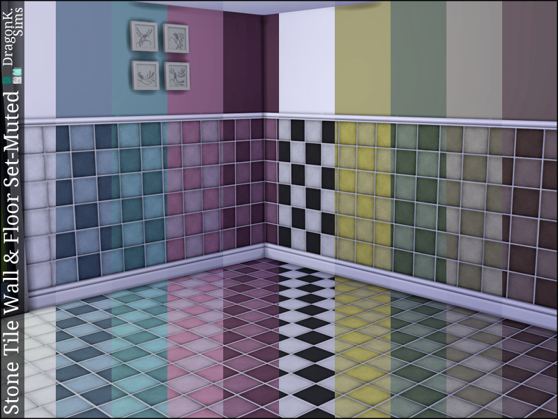 Stone Tile Wall & Floor Set – Muted | TS4 Build Mode - Walls ...