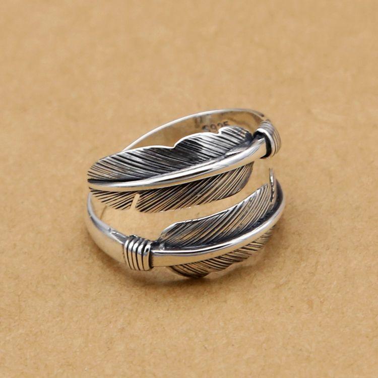 Handmade Vintage Indian Style Feather Design Cuff Ring Men Women ...