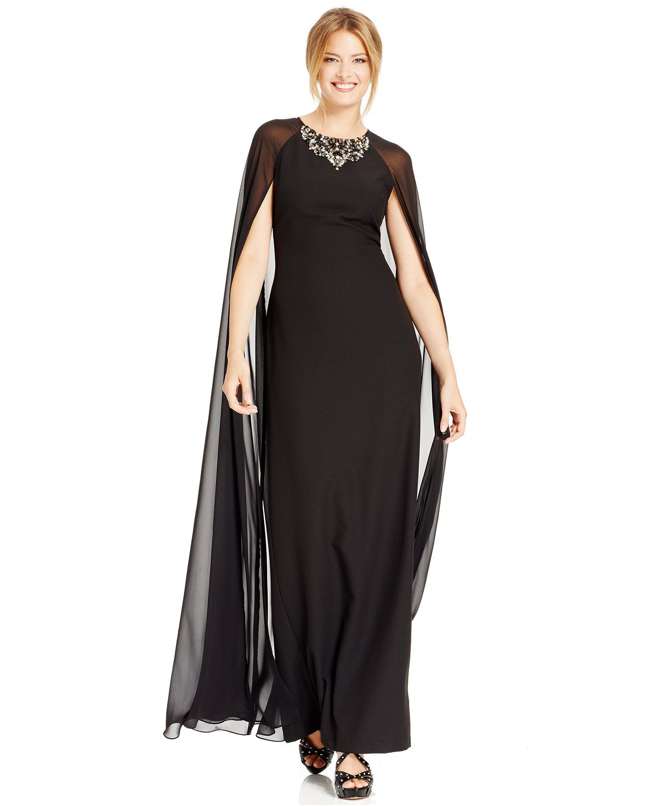 Vince camuto jeweled chiffon caplet gown vince camuto women