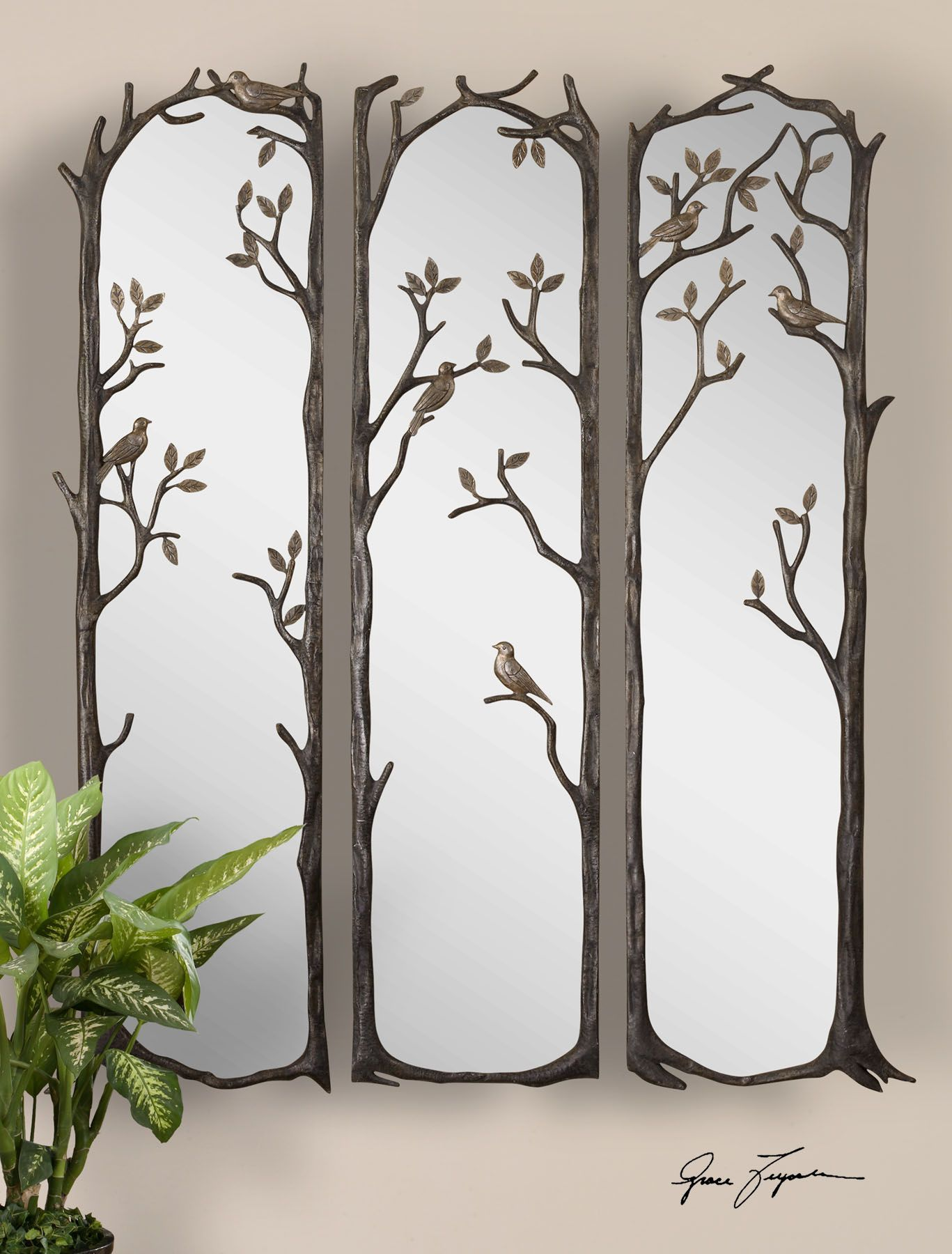 Decorative Mirror Uttermost Perching Birds Decorative Mirror Set 3 12788 Uttermost