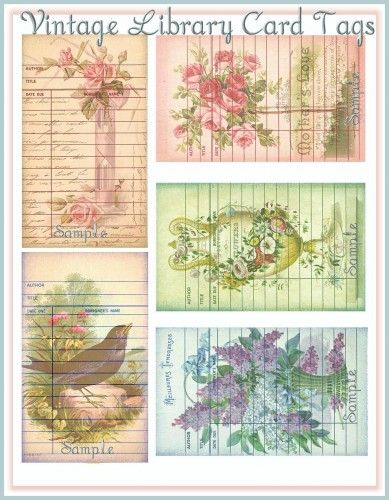 Vintage Ephemera Library Cards Antique Postcard Backgrounds UPRINT is part of Vintage ephemera - These images are a Wonderful Blending of Antique Postcard Images in the Backgrounds of Vintage Library Card Ephemera Pieces The Florals are absolutely Beautiful The Library Cards would be great