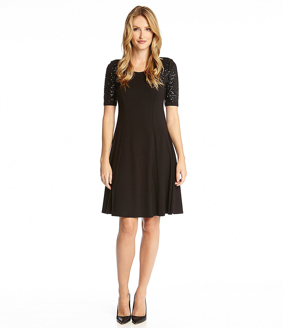 fc6df4b5abc Karen Kane Sequined-Sleeve Dress