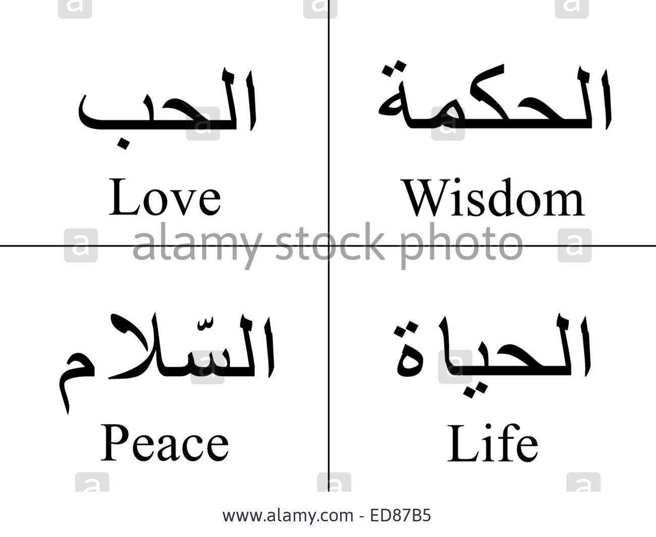 Love wisdom peace life arabic tattoo design crystal hebrew arabic words isolated on white with their meaning in english for tattoos topics symbols and illustrations buy this stock illustration on shutterstock biocorpaavc Image collections