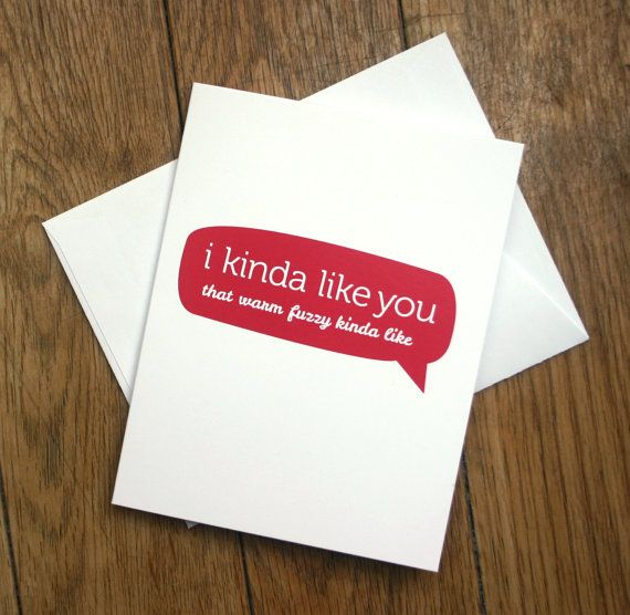 funny Love you card - like you in a warm and fuzzy way