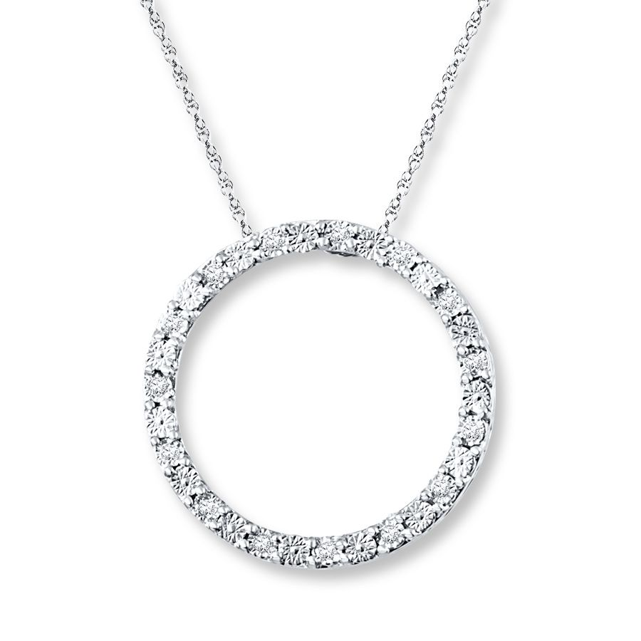 25fd321f7 Diamond Circle Necklace 1/20 ct tw Round-cut Sterling Silver | Hello ...