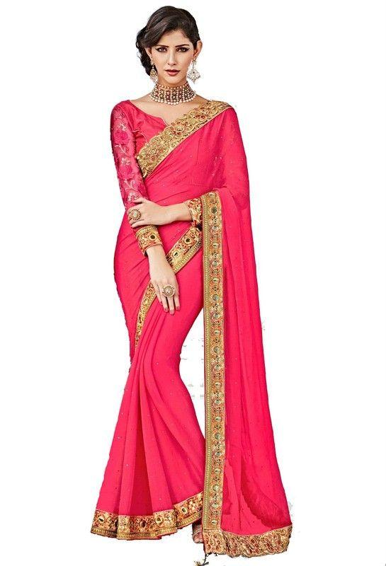 b9f3d0ff70 Gajari Colour Georgette Designer Party Wear Saree Buy Sarees | Party ...