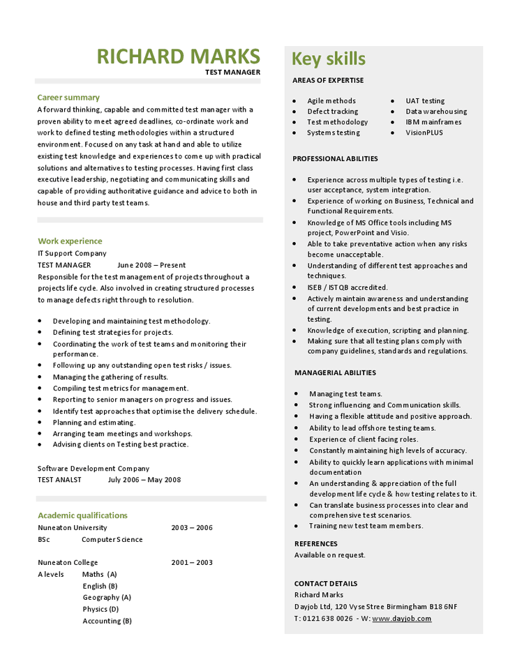 Test Manager CV CV Ideas Project Manager Resume Sales