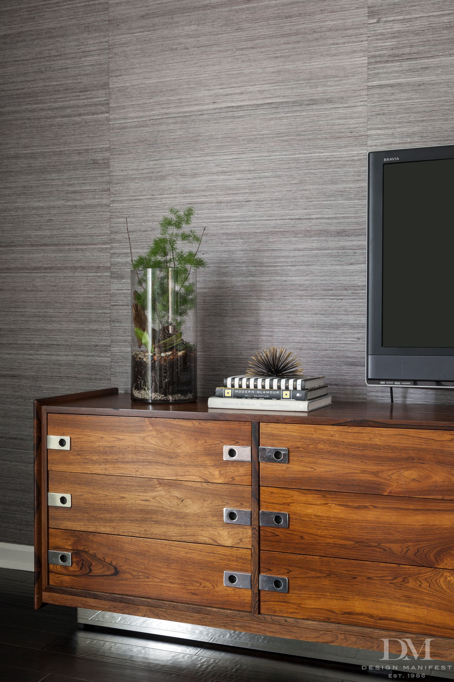 rosewood credenza with chrome base TV Stand grasscloth