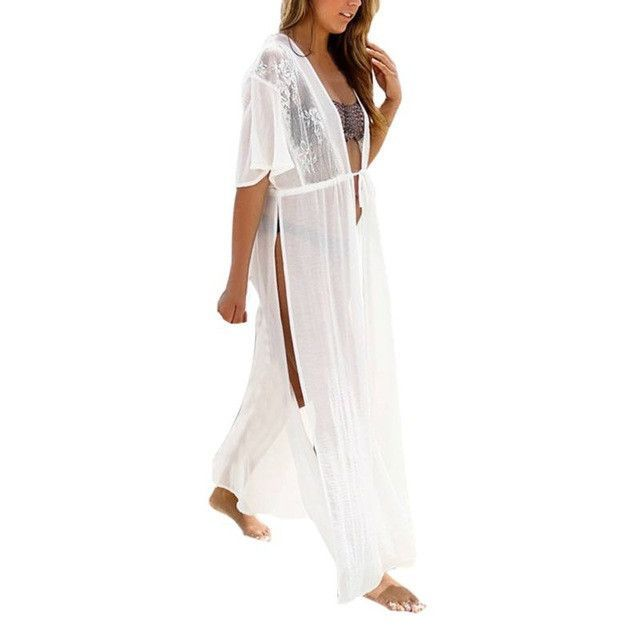 2017 Summer Sexy Women Lace Chiffon Irregular Deep V Neck Cover Up Blouse Long Bikini Beach Wear Sarong Long Vestidos S4