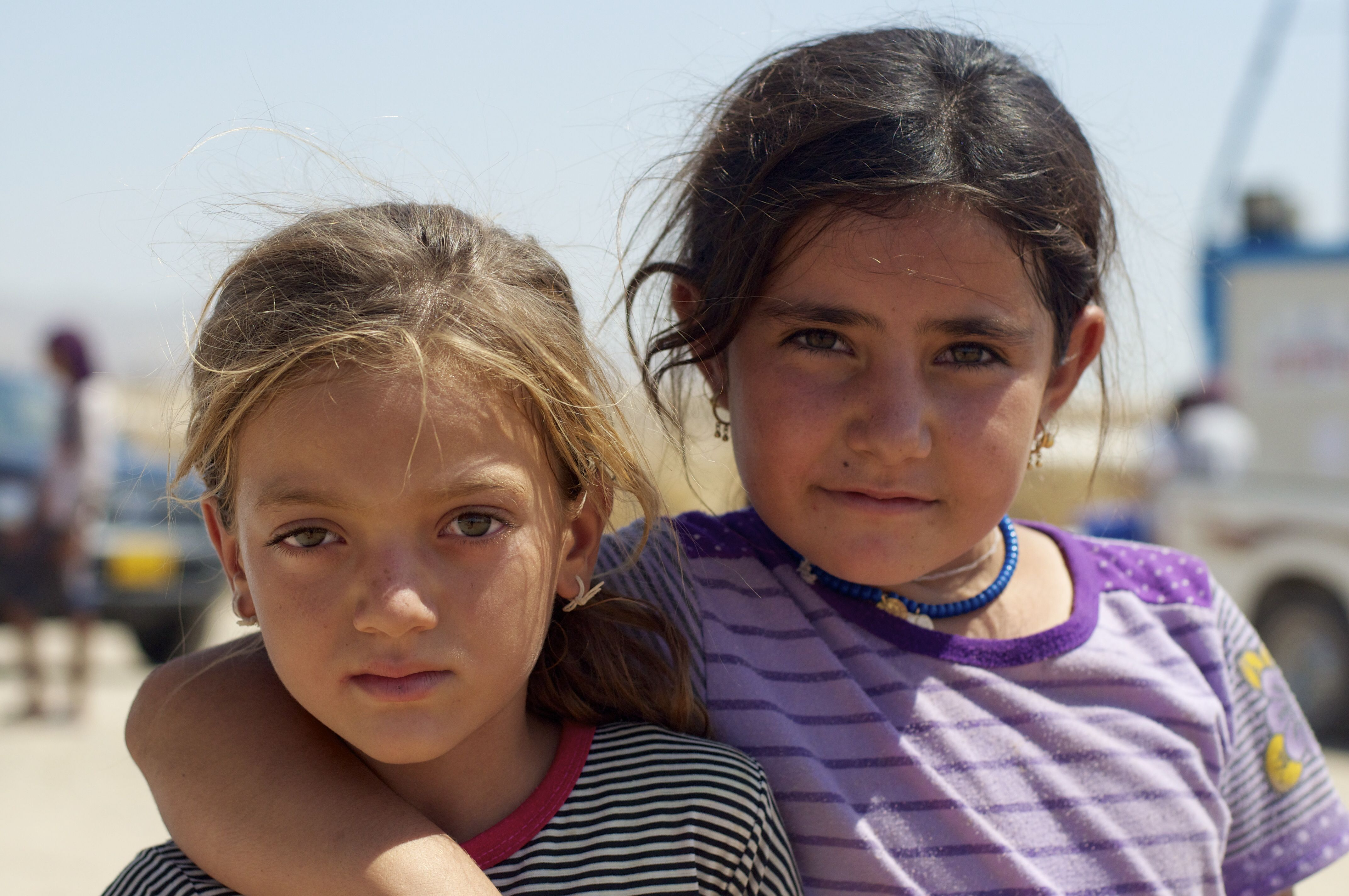 ERBIL : NORTHERN IRAQ : AUG 2014 : Two girls from the