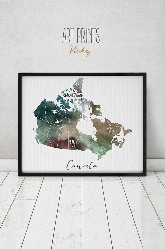 Canada Map Canada Watercolor Map Wall Art Canada Map Poster