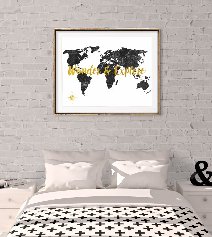 World map poster map of the world art prints black white gold world map poster black white gold decor gumiabroncs Gallery