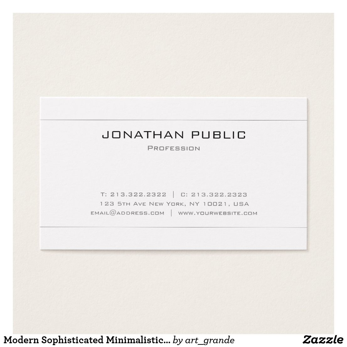 Modern Sophisticated Minimalistic White Plain Business Card ...