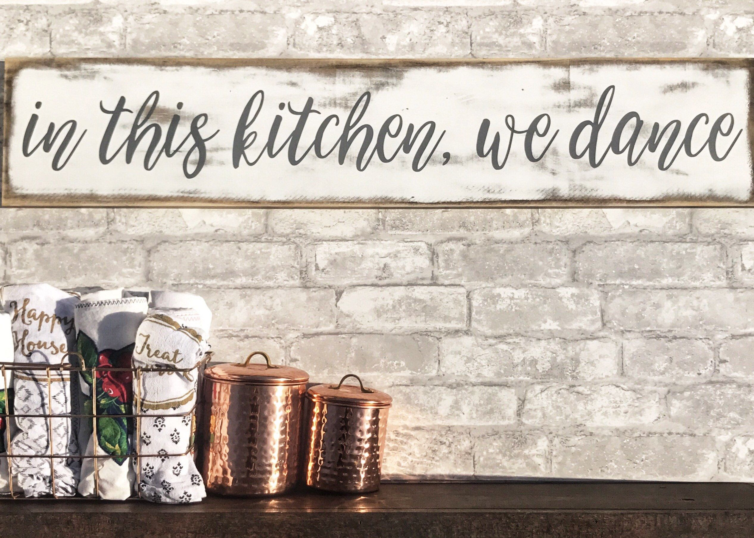 In This Kitchen We Dance Distressed Wood Kitchen Sign Etsy Handmade Wall Decor Reclaimed Wood Wall Decor Starfish Wall Decor