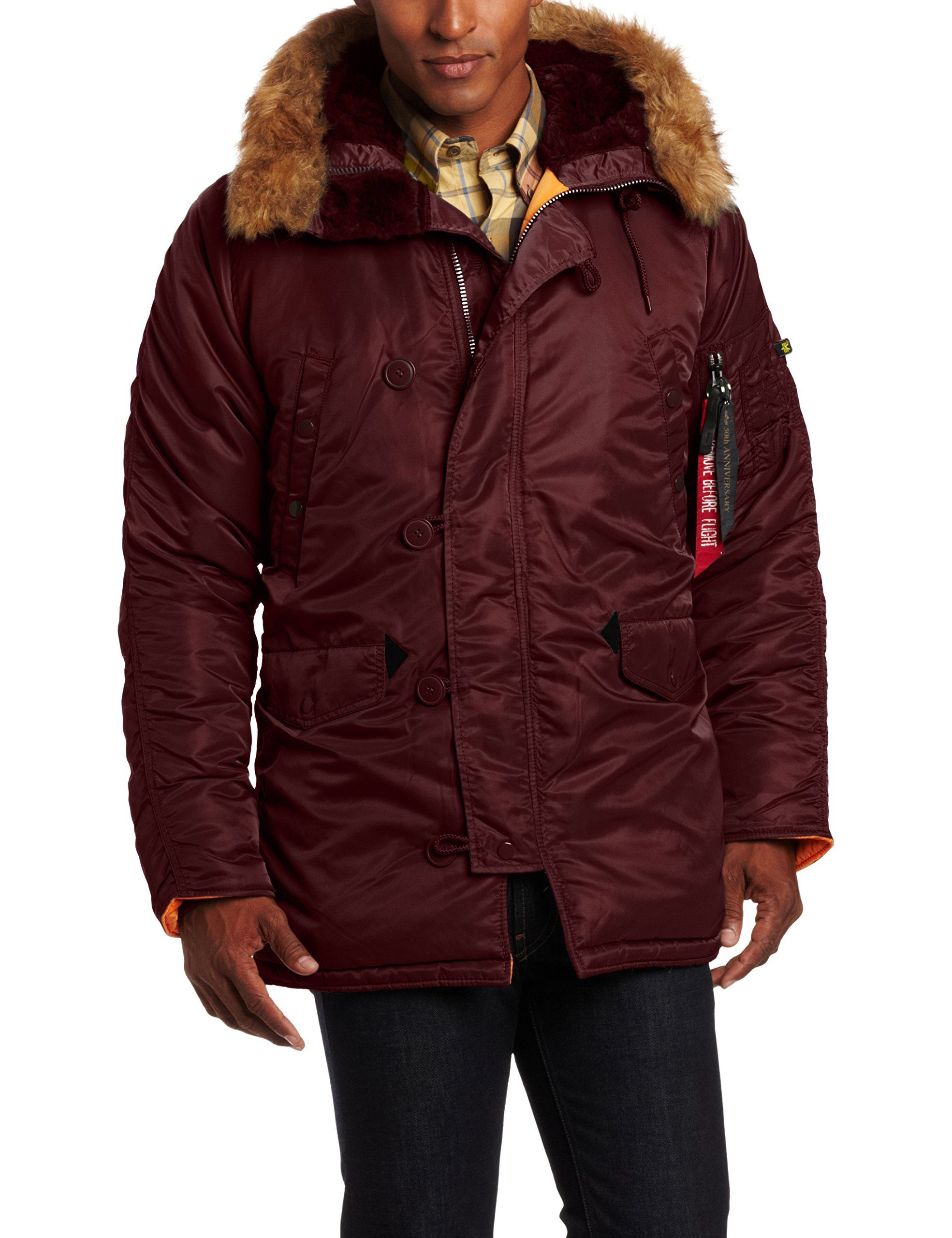 Alpha Industries Men's N-3B Slim Fit Water Repellent Parka, Maroon ...