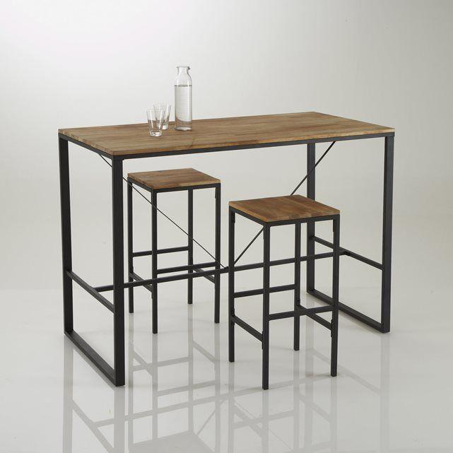 Table Haute A Manger.Table De Bar Haute Hiba Inspiree Du Mobilier Industriel En