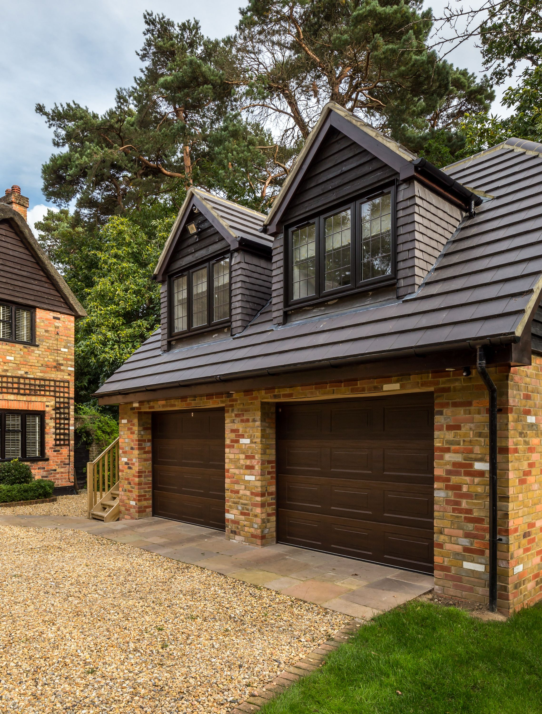 Building A Shed Dormer House Addition Ideas For Extra Living Space: Traditional Double Garage With Room In Loft Space