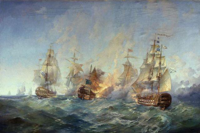Фрагмент картины А. Блинкова «Сражение у острова Тендра 28–29 августа 1790 года».