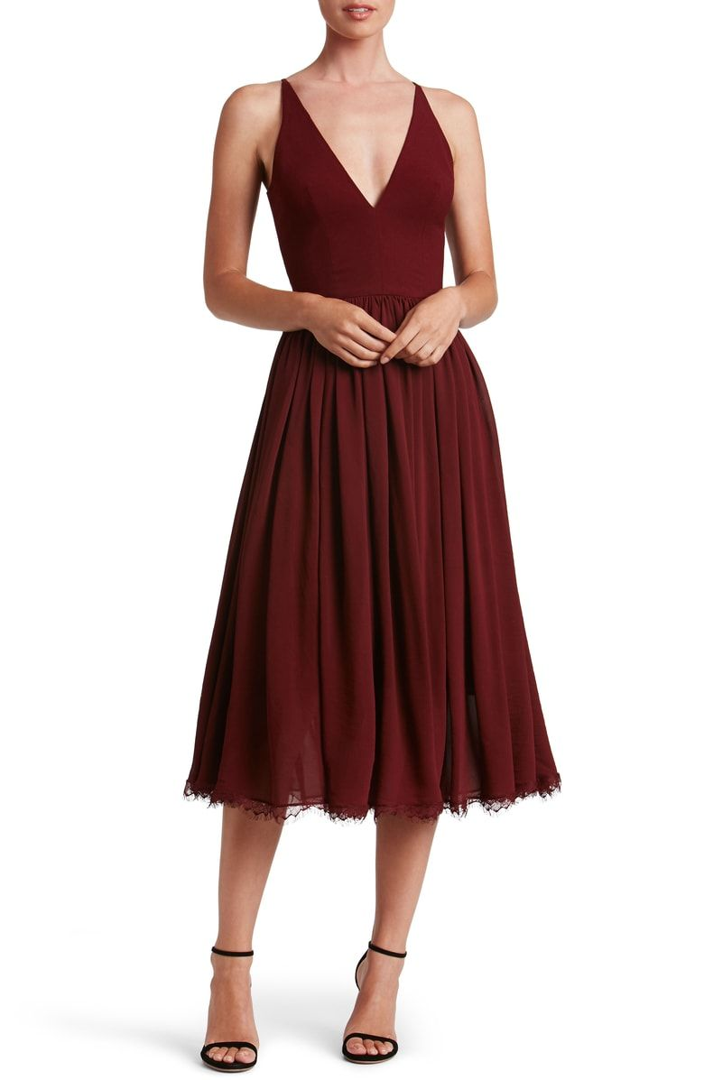 Dress The Population Alicia Mixed Media Midi Dress Nordstrom Dress The Population Guest Dresses Burgundy Dress [ 1197 x 780 Pixel ]