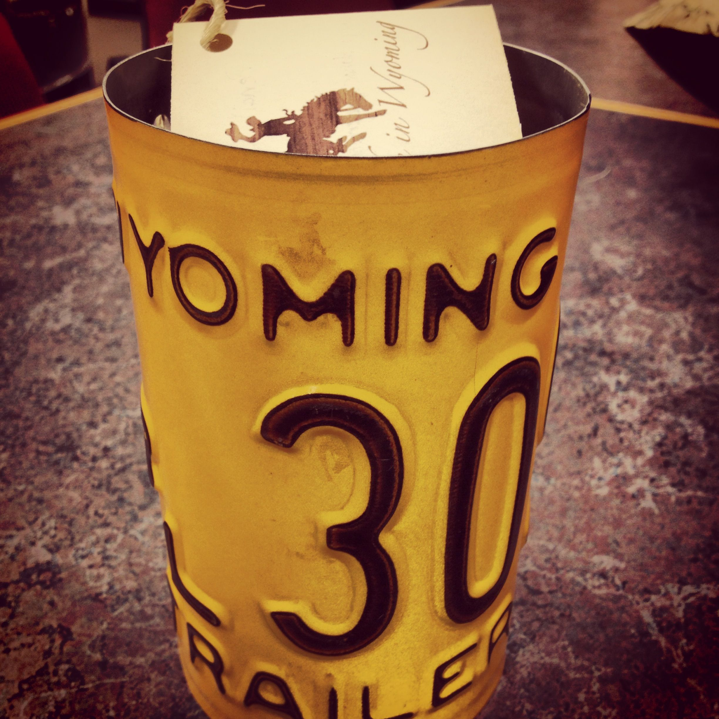 Vintage Wyoming license plate pencil cup, brown and gold #madeinwyoming  #GoWyo