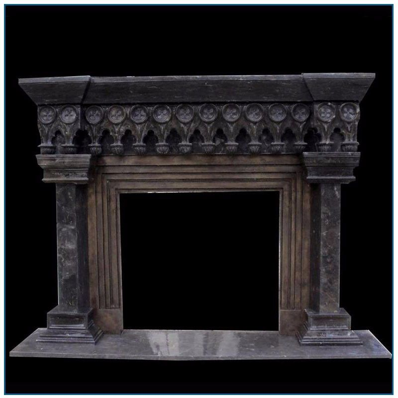 Antique Gothic Black Stone Marble Fireplace Mantel For Sale View