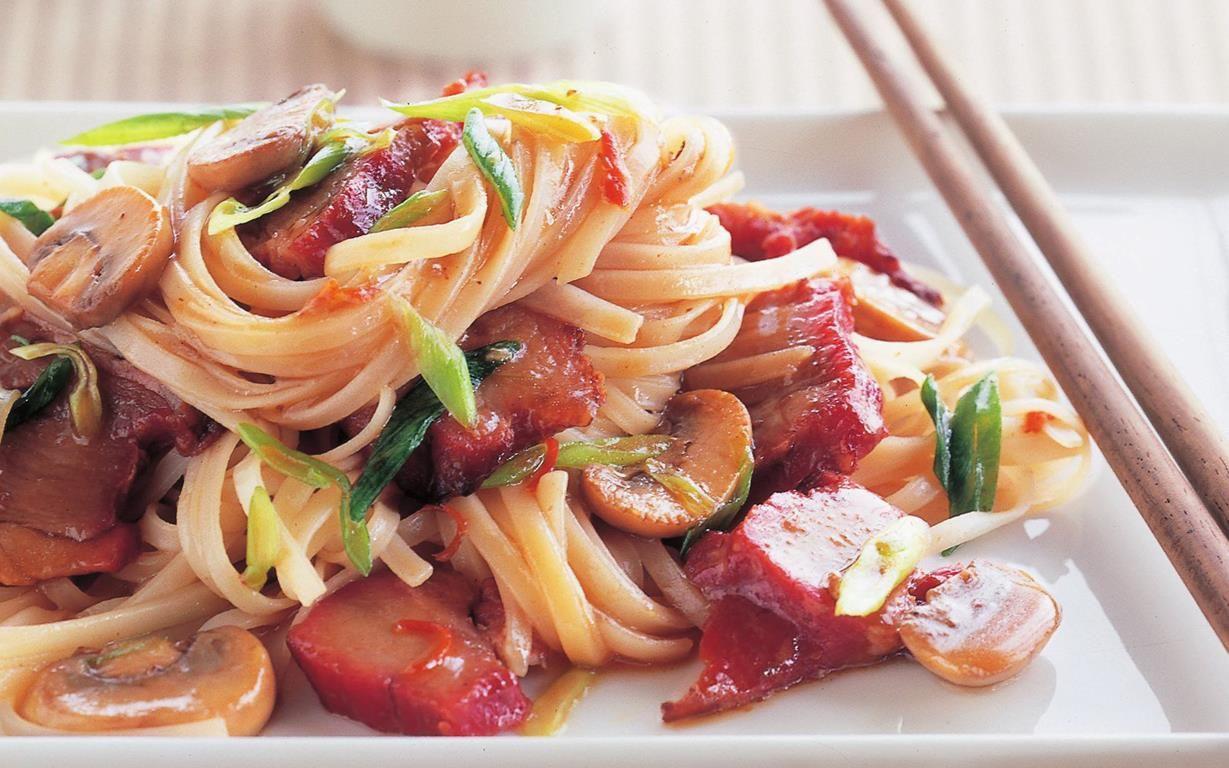 Chinese barbecued pork and mushroom stir fry recipe