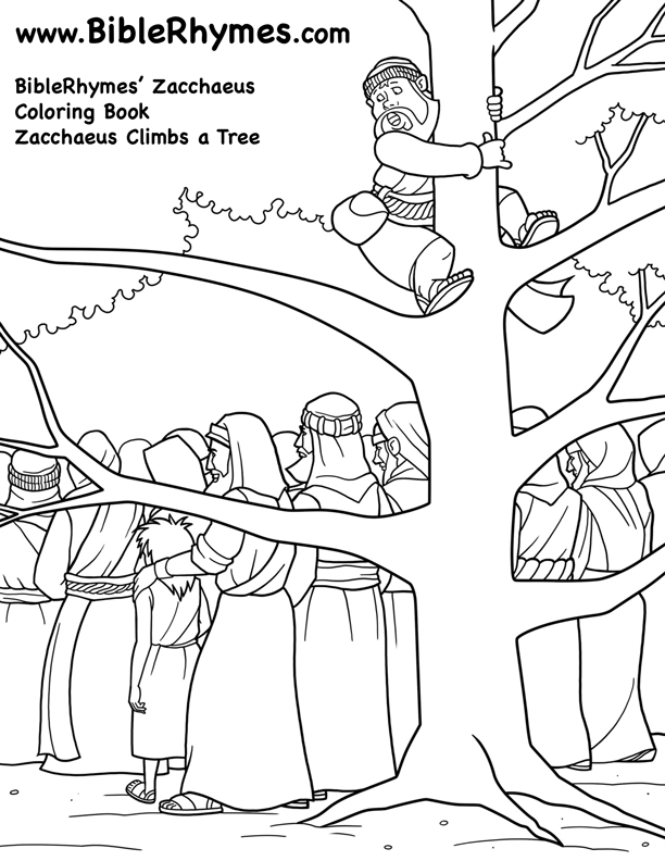 Climbing a Tree: BibleRhymes\' Zacchaeus - Bible Story Coloring Page ...
