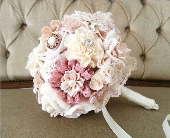 Blush wedding  Bouquet Fabric Bridal Bouquet by MySecretFace, $75.00