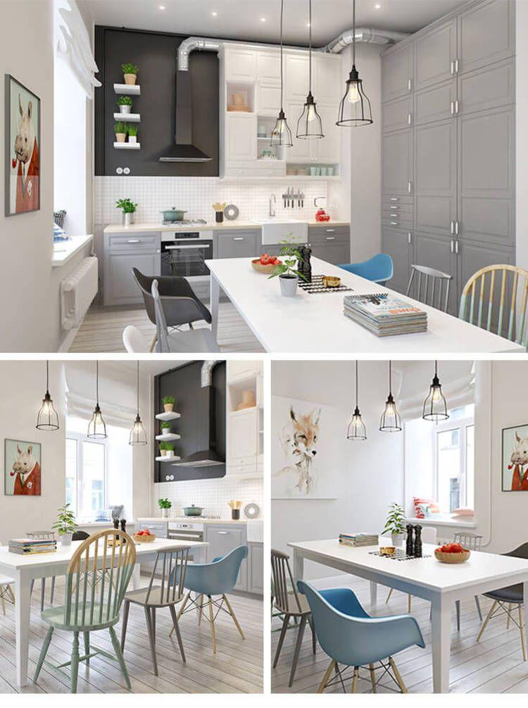 Une Cuisine Salle À Manger Scandinave Blanc, Gris Et Bleu Avec Une