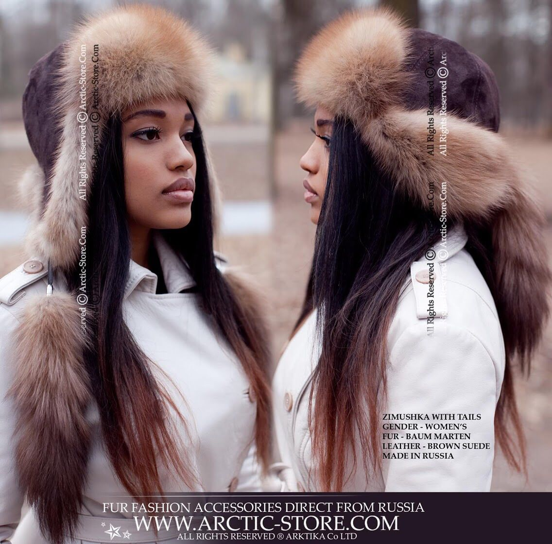 Zimushka Fur Hat With Tails Baum Marten Hats Fur Hat Fur
