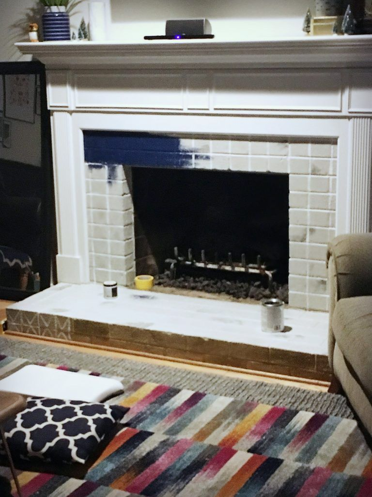 painted brick fireplace colorful bold unexpected howto