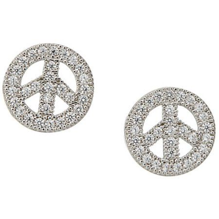 sterling earrings stud silver peace pin sign