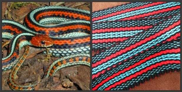 A custom guitar strap inspired by the San Francisco Garter Snake. Photo by Dr. Alan Francis. Weaving by Annie MacHale