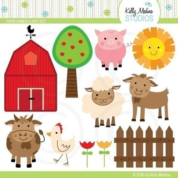 Farm Animals Clip Art Digital Elements Commercial Use For Cards Stationery And Paper Crafts And Products Crafts Farm Themed Party Paper Crafts