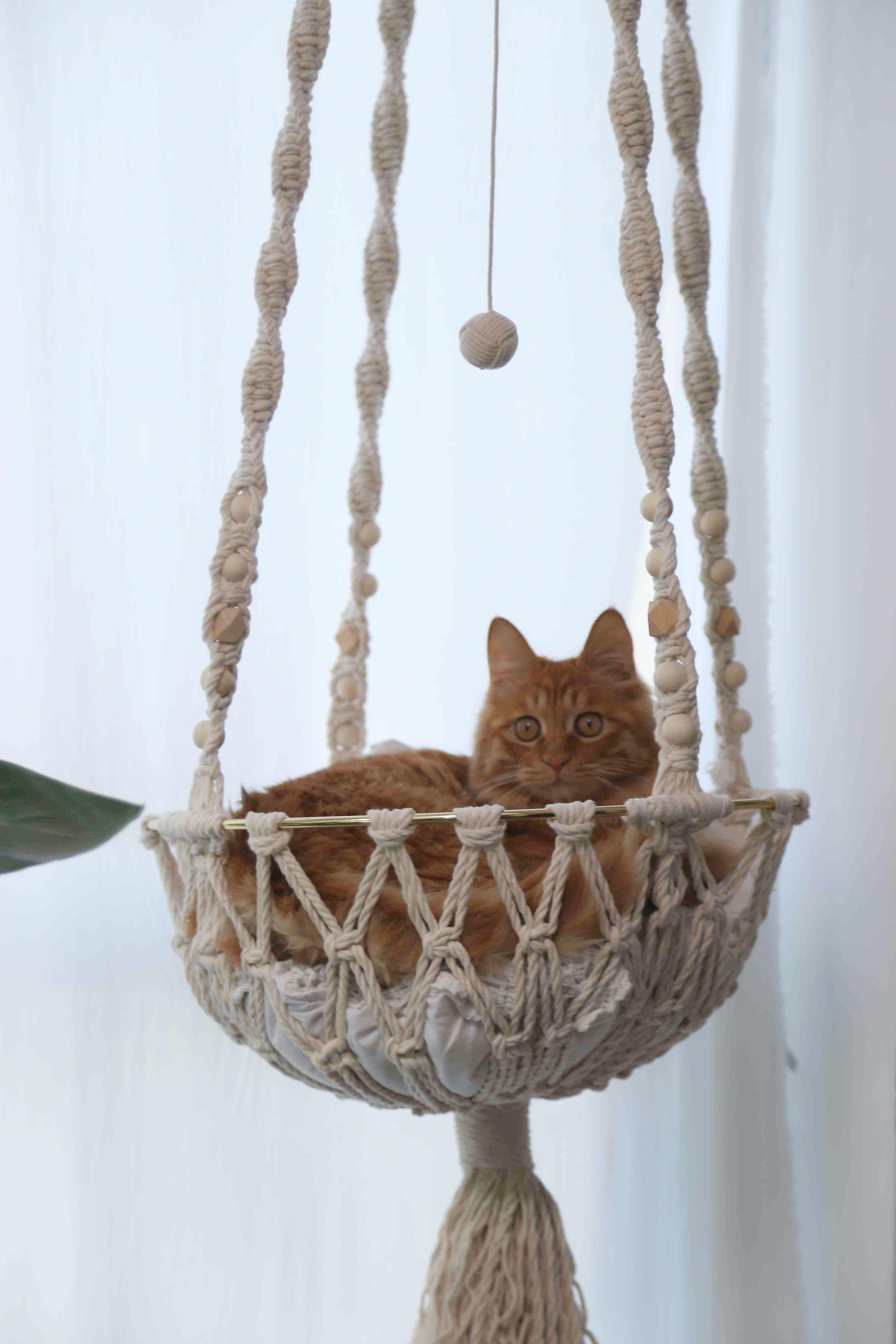 Handmade Macrame Cat Bed and Shelf