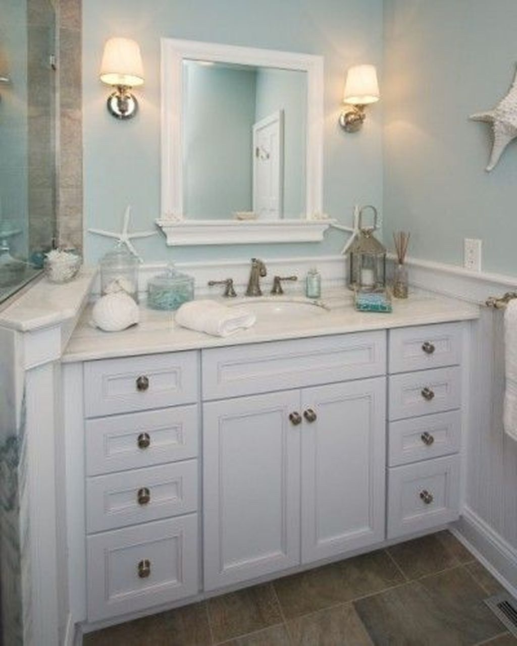 Awesome Gray And Blue Bathroom Design, Beach Decor Bathroom