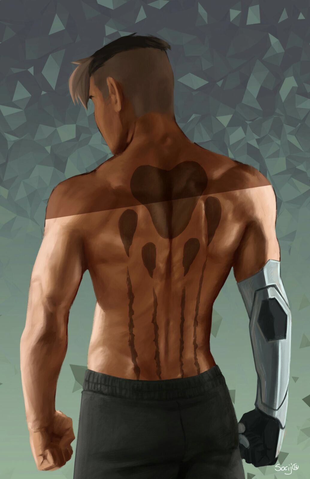 shiro and black lion paw print tattoo on his back from voltron