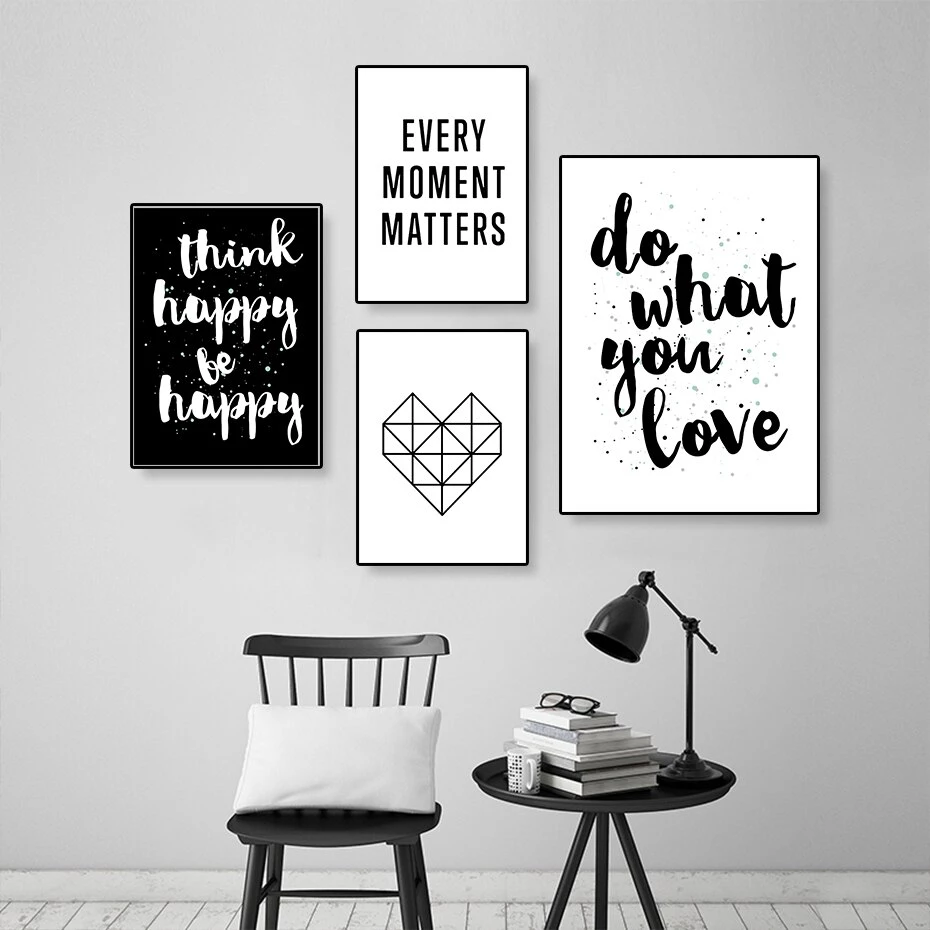 Do What You Love Positive Quotes Wall Art Nordic Style Black White Posters Black And White Posters Grey Office Decor Wall Art Quotes