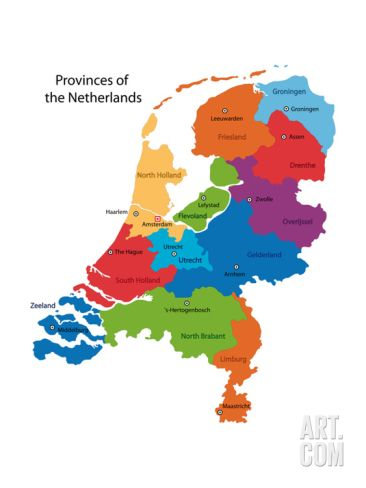 Colorful Netherlands Map With Regions and Main Cities Print by