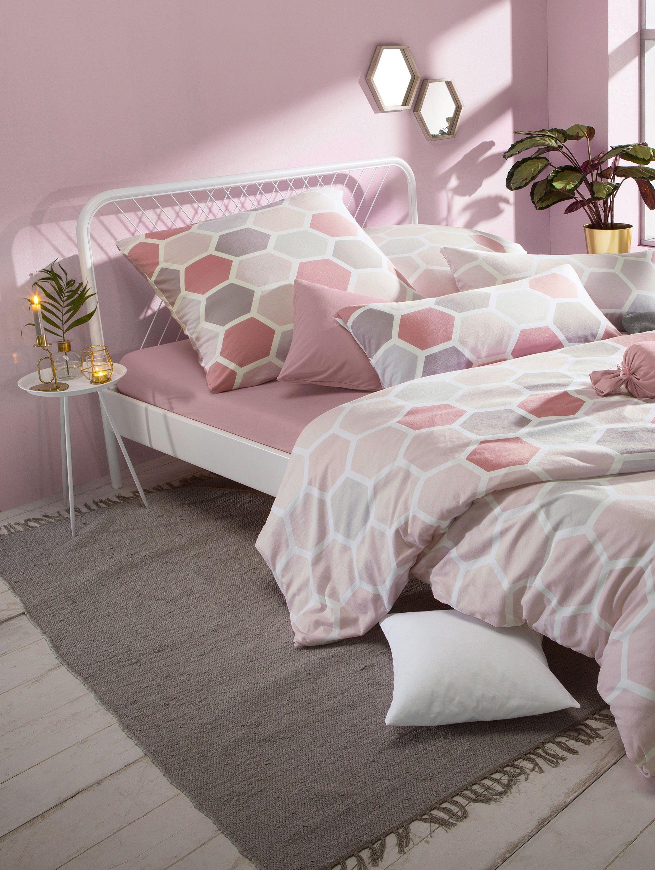 Grau und rosa sind tolle Farben für das Schlazimmer.