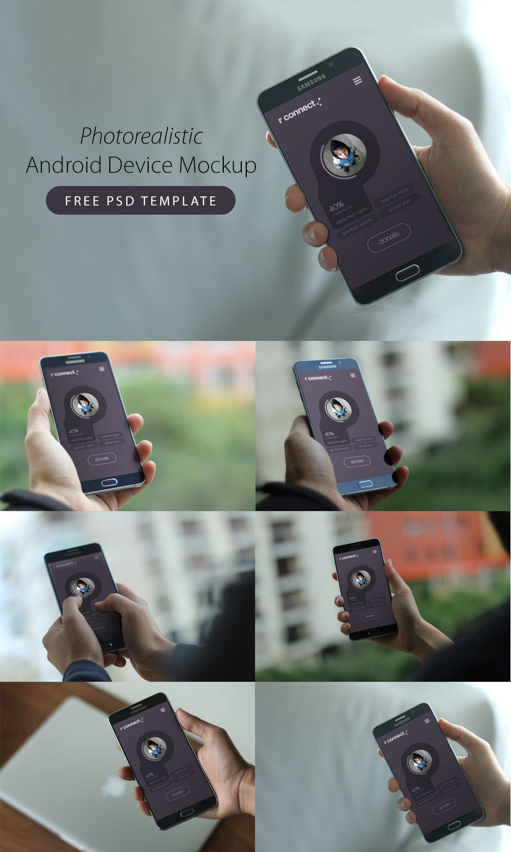 Download Photorealistic Android Device Mockup Free PSD