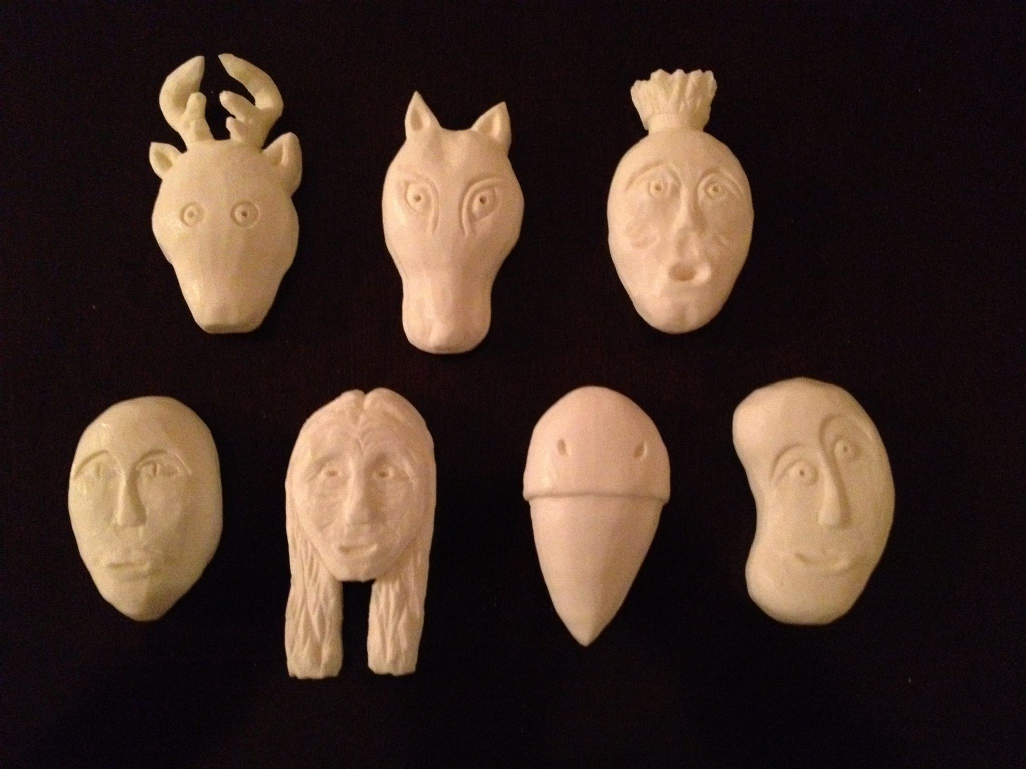 Seven Cherokee clan masks.