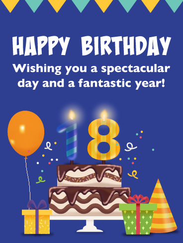 Cake Presents Happy 18th Birthday Card Birthday Greeting Cards By Davia 18th Birthday Cards 18th Birthday Birthday Verses