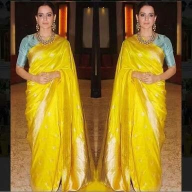 9898ac9f8f2a1c Contrast blouse for yellow saree